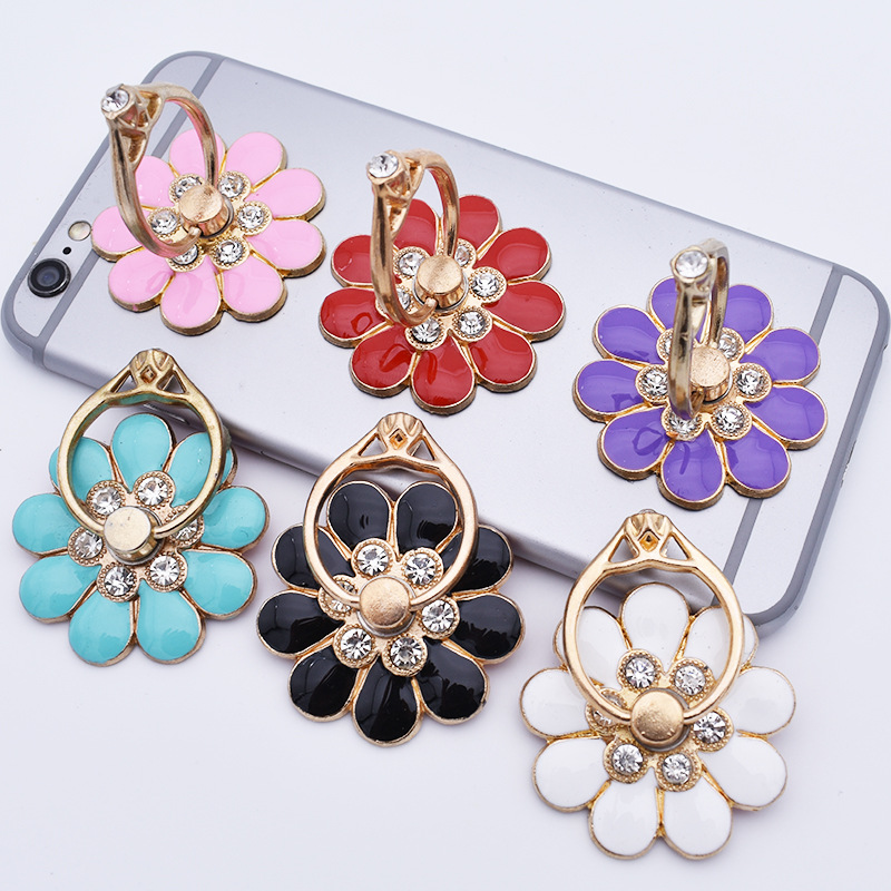 Flower Mobile Phone Bracket Metal Diamond 360 Degree Rotating Mobile Phone Ring Buckle Bracket Small Flower Phone Holders