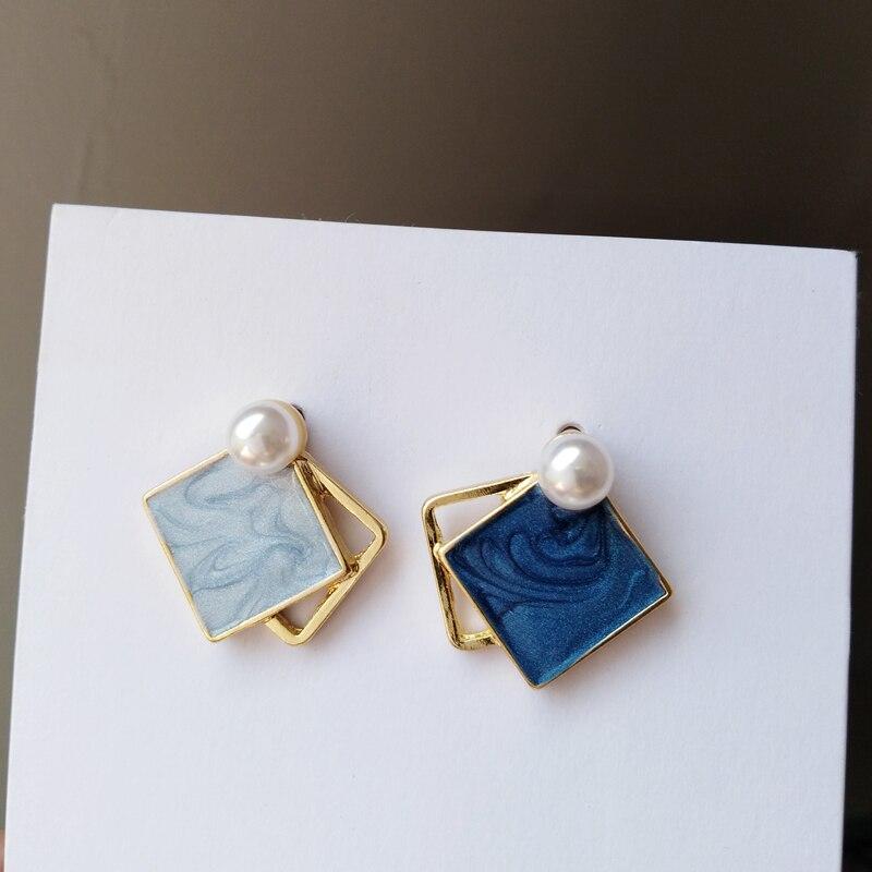 S925 needle новые ассиметричные серьги, хит продаж, красивый стиль, двухцветные синие висячие серьги с искусственным жемчугом, Женские Ювелирные...