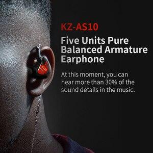 Image 5 - KZ AS10 Headset 5 balance armature driver ear earphone HIFI bass monitor music earphone general ZS10 ZST BA10 ES4 AS16 AS12 ZSX