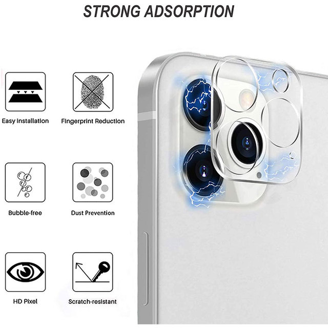 3Pcs Full Cover Camera Lens Protector on For iPhone 12 Pro Max Mini Tempered Glass For iPhone 11 Pro Max Xs XR Camera Protector 3