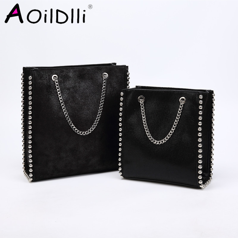 Vintage Large Capacity Totes Fashion Chain Rivet Women Shoulder Bags Lady Designer Luxury Pu Leather Handbags Purses Bucket 2109