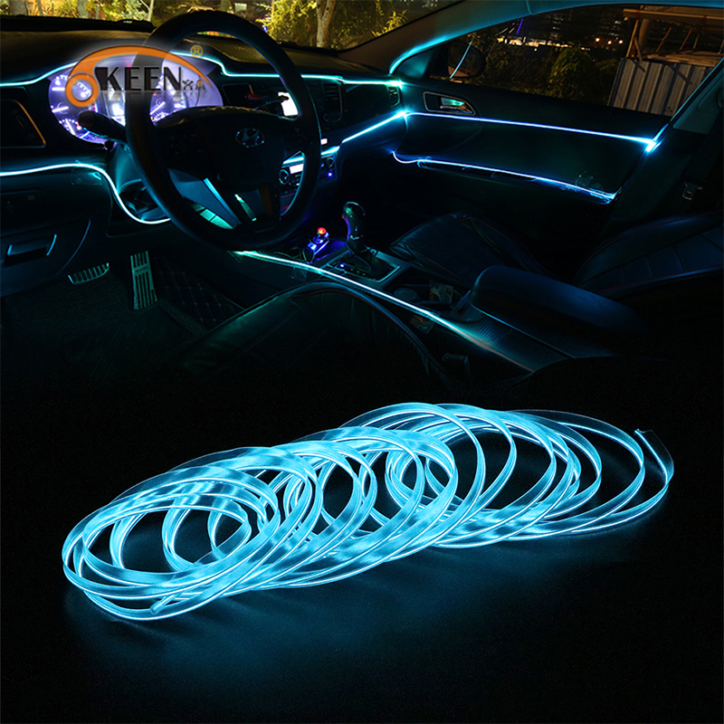 1M/2M/3M/5M Auto LED Strip Car Interior Lighting Garland EL Wire Neon Light Rope Tube Line Flexible  With 12V Cigarette Drive