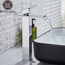正方形クロームとブラック滝流域のシンクの蛇口浴室ミキサータップワイドスパウト容器シンクfauetホット冷水タップ
