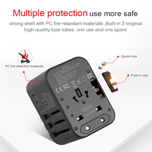 Image 3 - 4 port usb charger with universal travel plug adapter PD Worldwide Charger for UK EU AU wall Electric Plug Sockets with USB C PD
