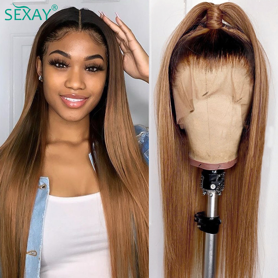 SEXAY Brown Color Human Hair Lace Wigs With Baby Hair Natural Hairline 10-28inch 150% 13x4 Remy Ombre Lace Front Human Hair Wigs