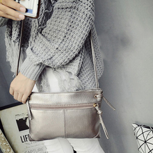 Fashion Korean Summer Women Messenger Bag Leather Solid Color Zipped Ladies Girl