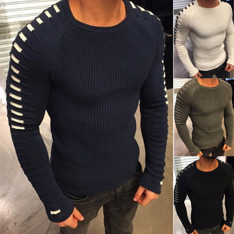 2019 New Autumn Winter Men's Fashion Sweater Stripe Splicing Thick Pullover Sweaters Male Brand Clothing Beige Green Black Navy