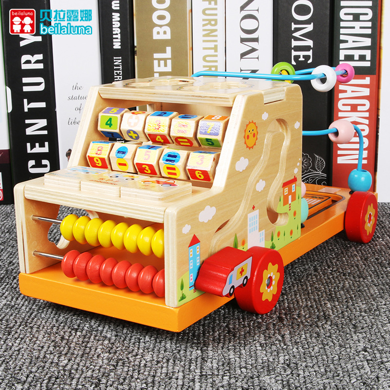 Baby Wood Multi-functional Trailer Barrow Bead-stringing Toy Animal Building Blocks Toy Children Shape Matching Early Childhood
