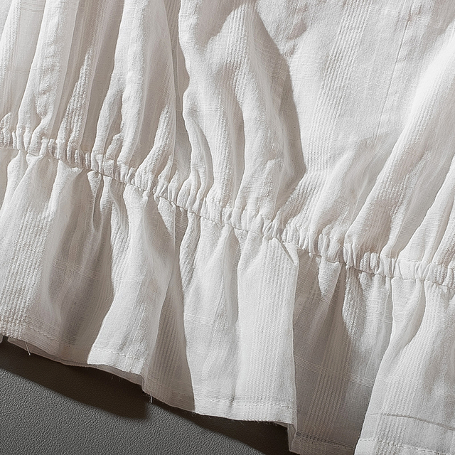 Cthink Spring 2020 New Slash Neck White Short Blouse Women Stylish Flare Sleeve Slim Soft Cotton Busas Good Summer Women's Dress 6