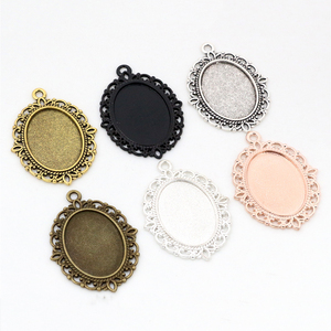 10pcs 18x25mm Inner Size 6 Colors Plated Classic Style Cameo Cabochon Base Setting Charms Pendant necklace findings(China)
