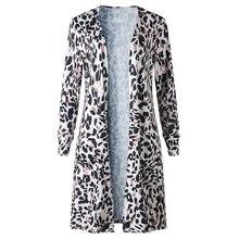 Womens Leopard Printed Kimono Blouse Cardigan Ladies Open Front Beach Long Coat Shirts Woman Long Sleeve Daily Blouse Shirt open front knot hem blouse