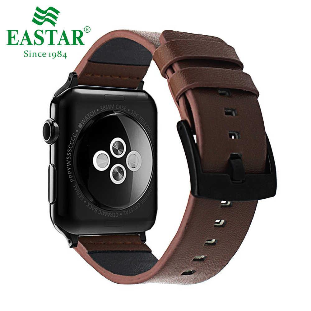 Eastar جلد طبيعي أسود سوار ل أبل ساعة 5 الفرقة 42 مللي متر 38 مللي متر iWatch ساعة اكسسوارات ل أبل حزام ساعة اليد الساعات