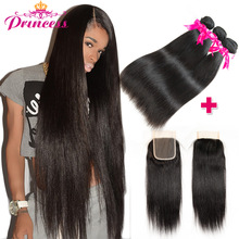 Straight Hair Human-Hair-Bundles Lace Closure Princess Peruvian with Double-Weft Remy