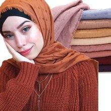 10pcs Popular pom pom cotton Scarf Crinkle Women Solid muslim Hijabs Muffler Shawls Pashmina Wrap Hijab Scarves Headscarf Scarf