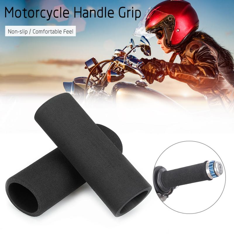 1pair Motorbike Foam Slip-on Anti Vibration Comfort Handlebar Grip Cover Black