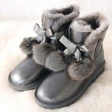 G & Zaco Cao Cấp Chính Hãng Da Cừu Giày Nữ lông cừu Giày nữ Chống Thấm Nước Ủng Mùa Đông Giày da Nơ Cáo bóng Giày