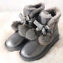 G & Zaco di Lusso Genuino Stivali di pelle di Pecora Delle Donne di lana di pecora scarpe da donna Impermeabile Stivali Da Neve stivali di pelle di Inverno Arco di Volpe palla Scarpa