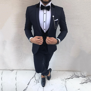 SoDigne Dark Blue Slim Fit Notch Lapel Wedding Suit Tuxedo Three Piece Business Men Suits 2020 women s stylish slim three quarter sleeve small suit dark blue l