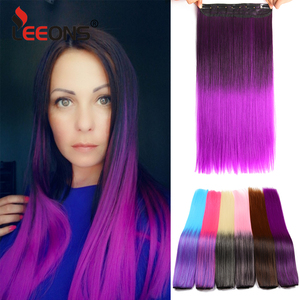 Leeons 5 clips in Hair Extensions long Straight 22Inch Synthetic Ombre Black Brown Clip in False Hairpieces For Women 26 Colors