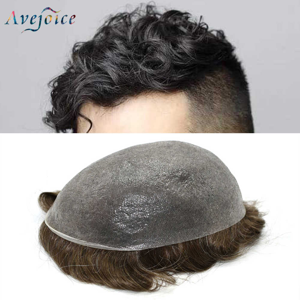 AVEJOICE Thin Skin 0.03mm Mens Toupee Thin Pu V-Loop Human Hair Replacement Systems Natural Remy Hair Men Wigs US Stock