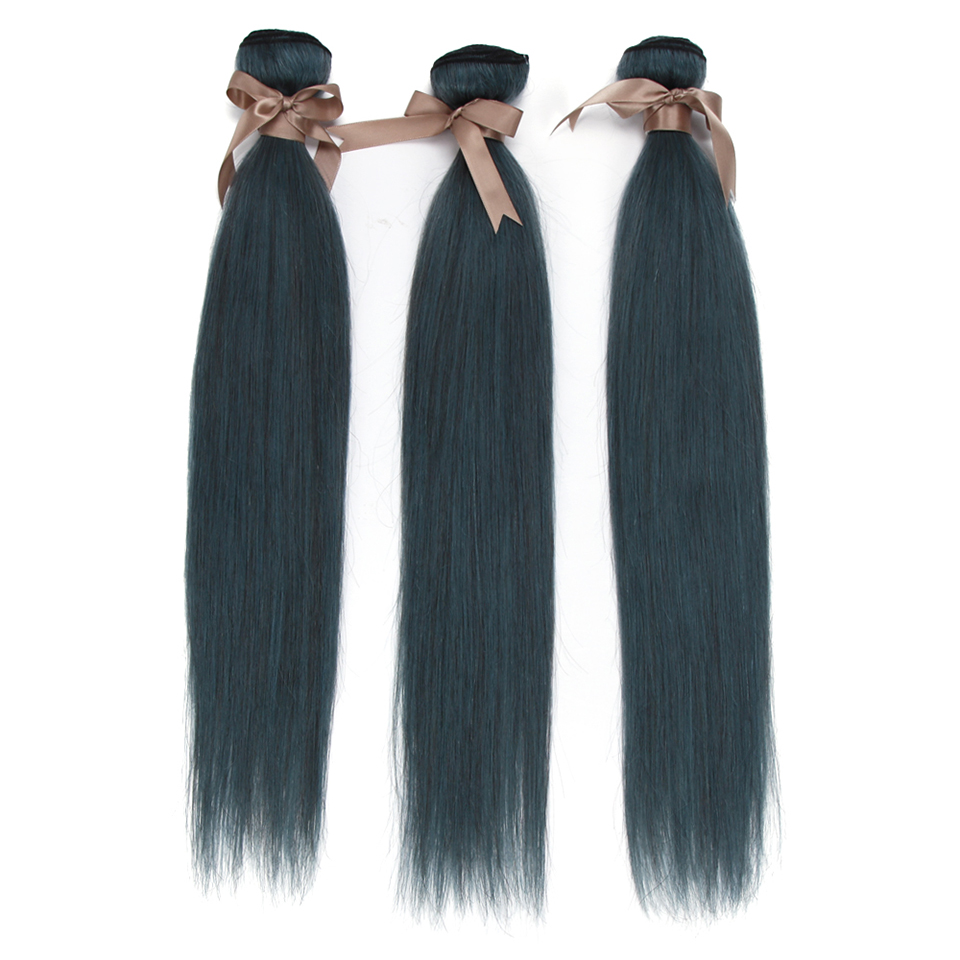 Remy Forte Straight Bundles With Closure Blue Black Human Hair Bundles With Closure Brazilian Hair Weave Bundles 3/4 Bundles