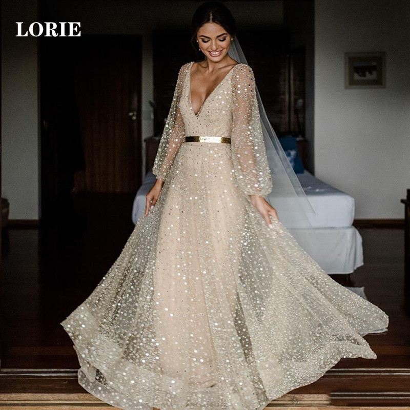 LORIE Glitter Lace Wedding Dress A Line V Neck Boho Bride Dress Puff Sleeve Wedding Gowns Vestidos De Novia Backless