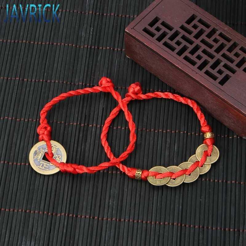 Feng Shui chino de la suerte y la fortuna moneda de cobre colgante pulseras de hilo rojo JUL3