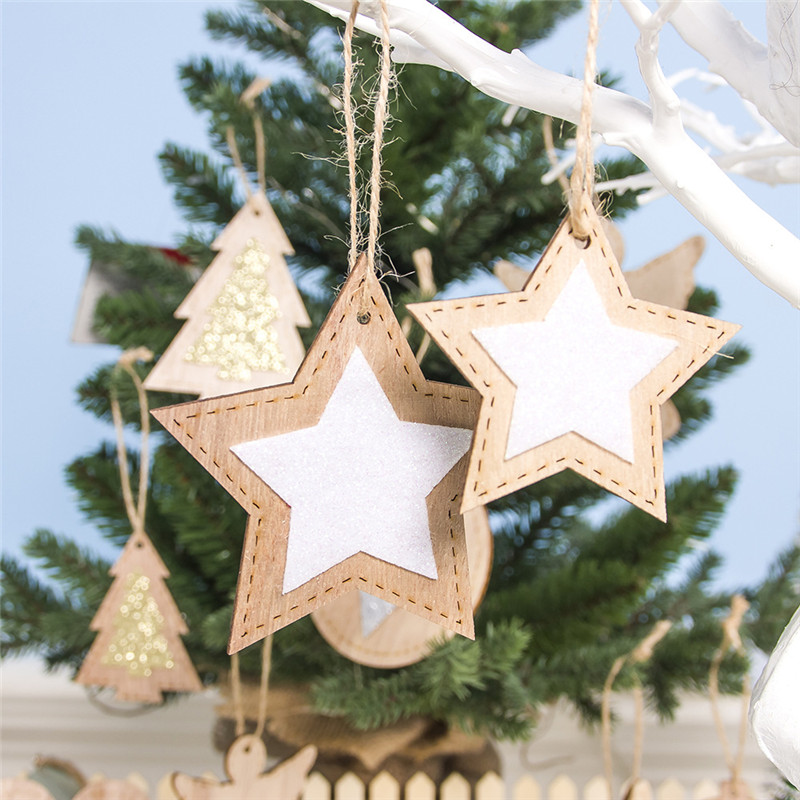 2pcs New Year 2020 Gift Natural Wooden Christmas Tree Pendants Christmas Ornaments Decorations for Home Adornos De Navidad 2019 23