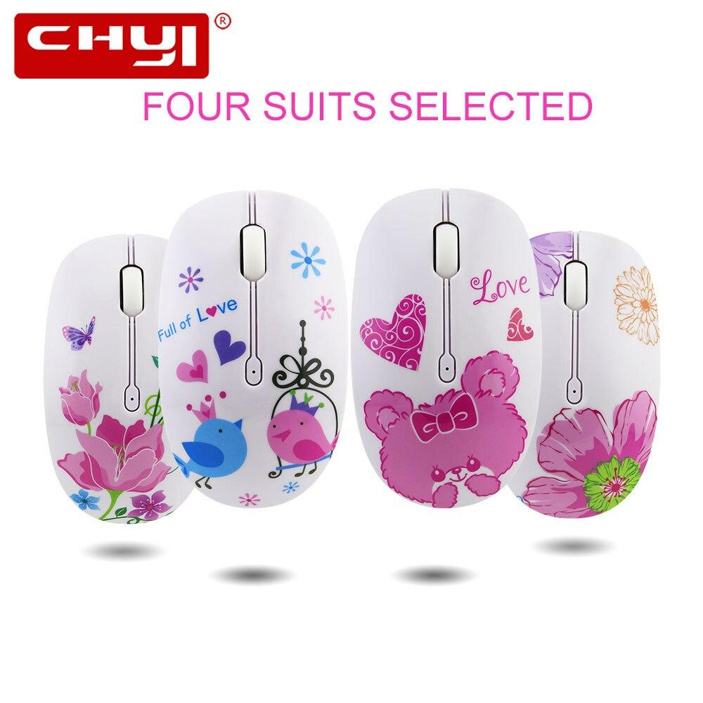 CHYI 2.4G Silent Wireless Mouse Cute Bird Flower Bear Butterfly Design 3D USB Optical Mice Kids 1200DPI Noiseless Computer Mause
