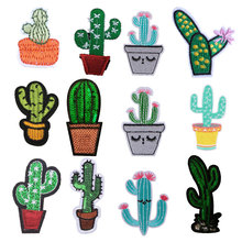 Iron on Patches for Clothing 3D Plant Cactus DIY Embroidery Stripe Clothes Sequin Applique Badge Cloth Fabric