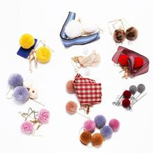1 Suit Cute Rabbit Fur Ball PomPom Long Drop Fringe Earrings Unique Base For Earring Hooks DIY Jewelry Making Accessories Packag
