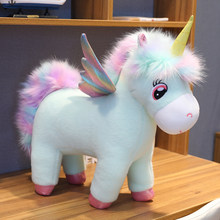 Fantastic Glow Rainbow Wings Unicorns Plush toy Giant Unicorn Toy Stuffed Animals Doll Fluffy Hair Fly Horse Toys for Child(China)