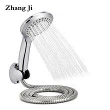 Zhangji круглые дождевые насадки для душа наборы настенный душевой шланг для ванной+ держатель для душа+ регулируемый 5 функциональный ручной душ