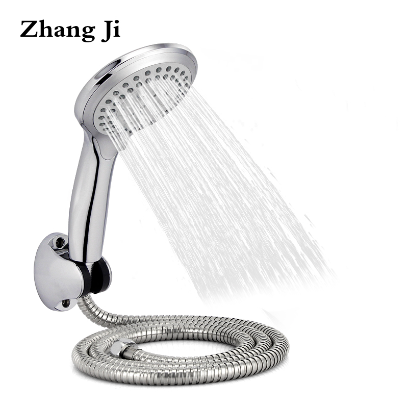 Zhangji Round Rain Shower Head Sets Wall Mounted Bathroom Shower Hose+Shower Holder +Adjustable 5 Functional Handhold Showerhead