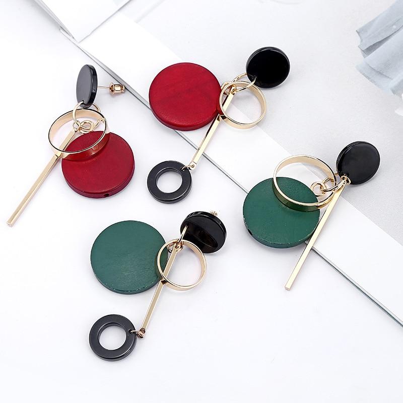 Asymmetric Round Wood Long Tassel Earrings for Women Circle Geometric Earring Fashion Charm Trendy Jewelry