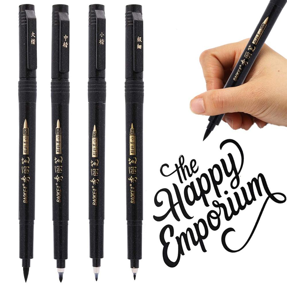 4 Pcs/set Chinese Calligraphy Pen Hand Lettering Pens Brush Lettering Pens Markers For Writing Drawing Black Ink Pens Art Marker