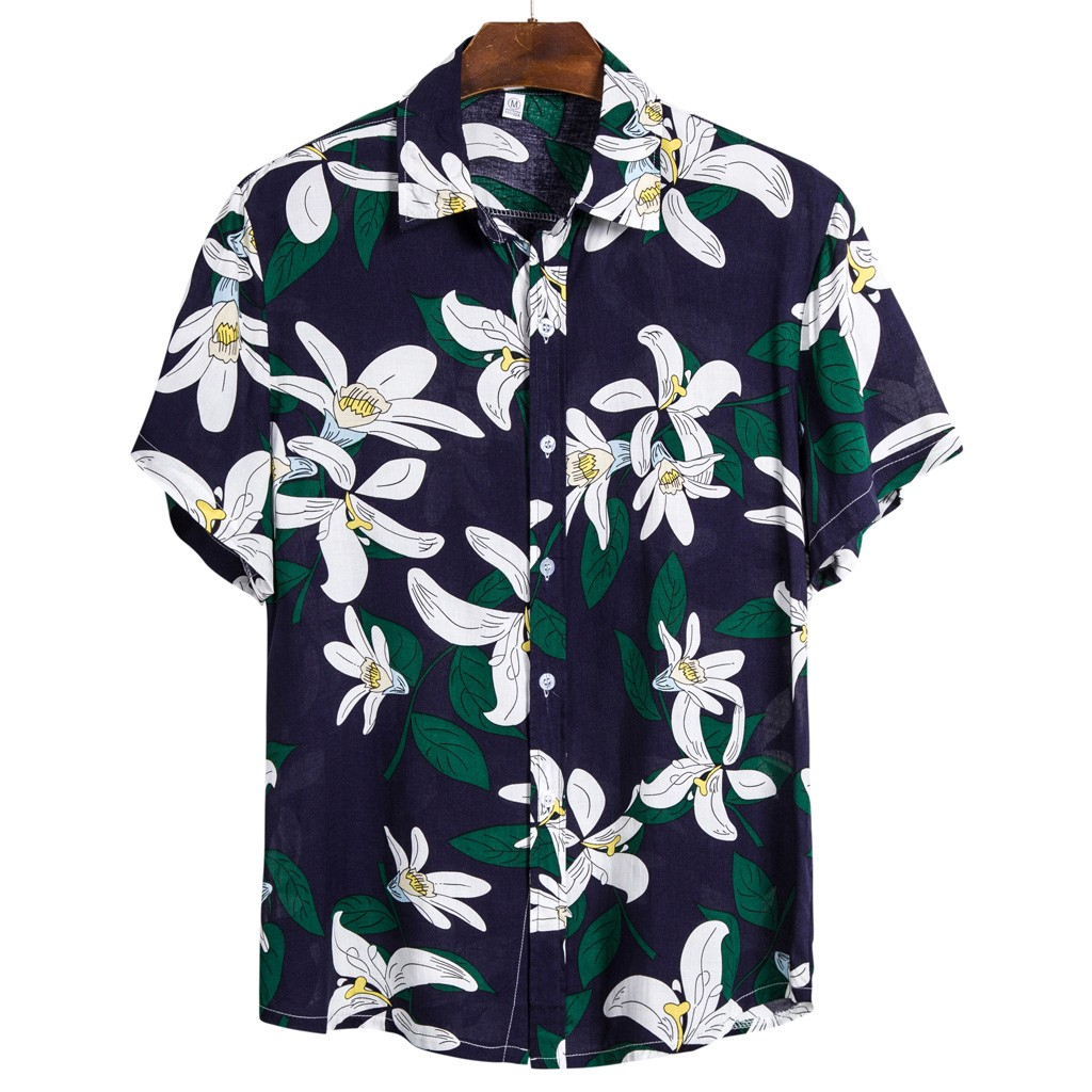 Men Ethnic Short Sleeve Casual Printed Hawaiian Shirt Blouse Plus Size M-3XL Shirts Camisa Social Masculina рубашка мужская 2020