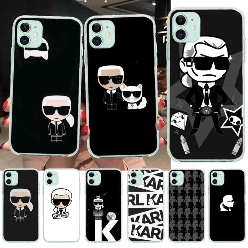 Lagerfeld Merk Designer Cartoon Karakter Telefoon Case Cover Voor Iphone 11 Pro Xs Max 8 7 6 6S Plus X 5S Se 2020 Xr Cover