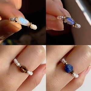 Momiji Beads Rings Bohemian-Jewelry Pearl Natural-Stone Elastic Handmade Adjustable Women