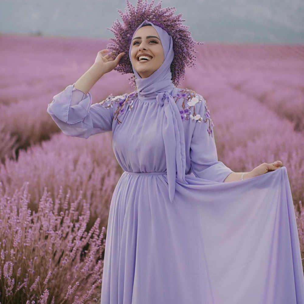 보라색 자수 Abaya 두바이 터키 Hijab 이슬람 드레스 Kaftan Caftan Abayas 여성을위한 이슬람 의류 라마단 드레스 Musulman
