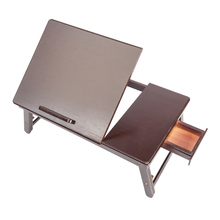 53cm  Retro Plain Design Adjustable Bamboo Lap Desk Tray Dark Coffee TV Dinner Tray Office Workers Writing Desk