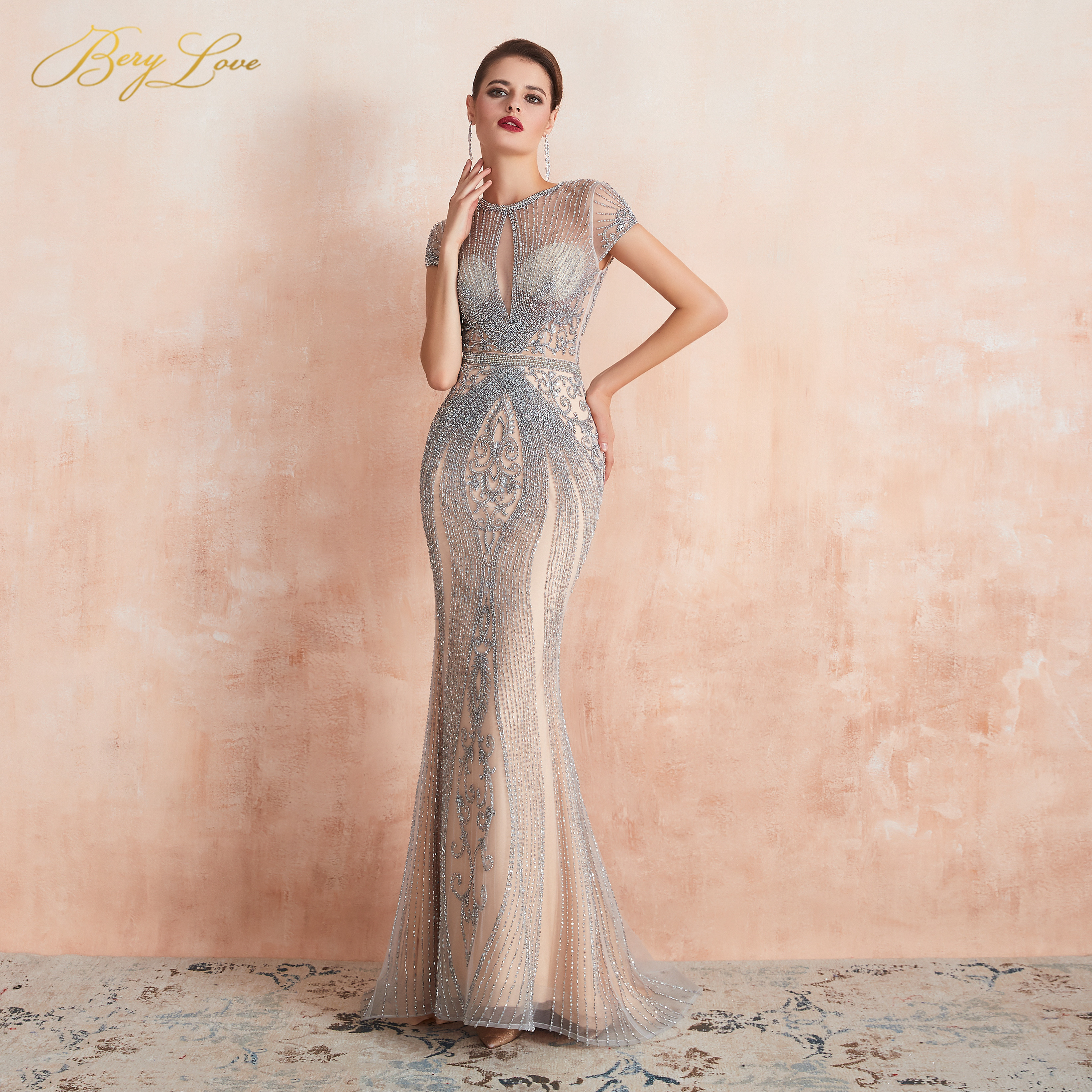 BeryLove 2020 Luxury Rhinestones Nude Mermaid Evening Dress Cap Sleeves Long Evening Pageant Dresses Formal Gown Robe De Soiree