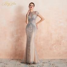 BeryLove 2020 Luxury Rhinestones Nude Mermaid Evening Dress Cap Sleeves Long Evening Pageant Dresses Formal Gown robe de soiree