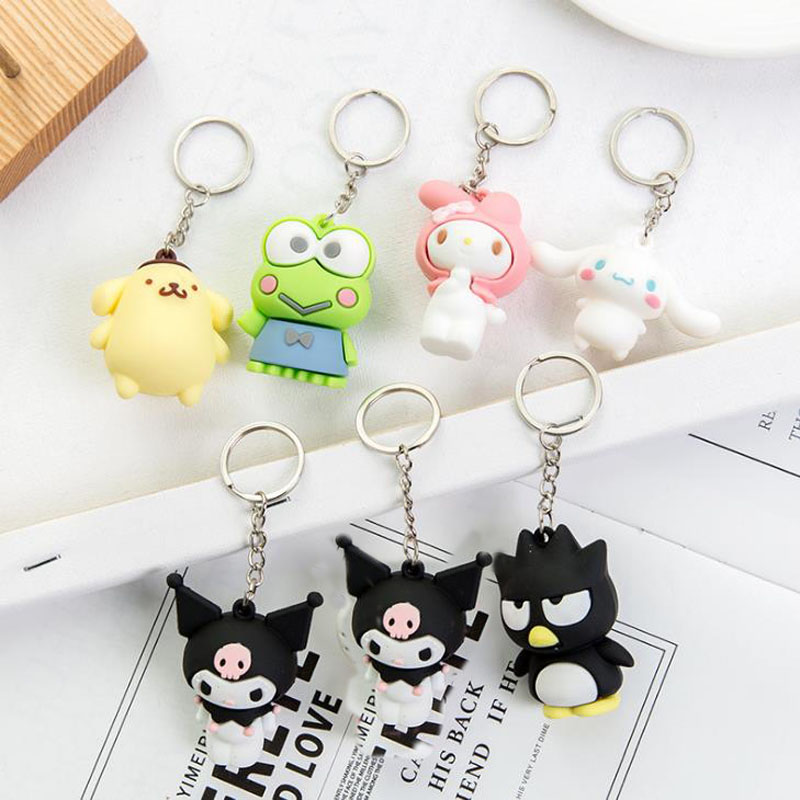 1 Pcs Cute Sanrio Series My Melody Pudding Cinnamoroll Dog Cool Penguin Kuromi Pendant Keychain Bag For Girls Gift Figure Toys