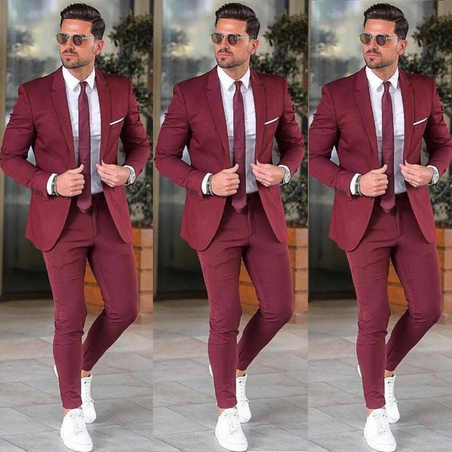 Elegante Custom Bourgondië Mannen Pak Blazers Voor Party Prom 2 Pieces Jas + Broek Bruidegom Wedding Suits Notched Revers Mens tuxedos
