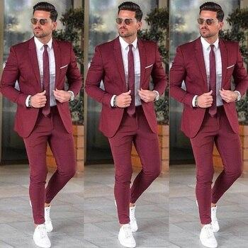 Elegant Custom Burgundy Men Suit Blazers For Party Prom 2 Pieces Jacket + Pants Groom Wedding Suits Notched Lapel Mens Tuxedos