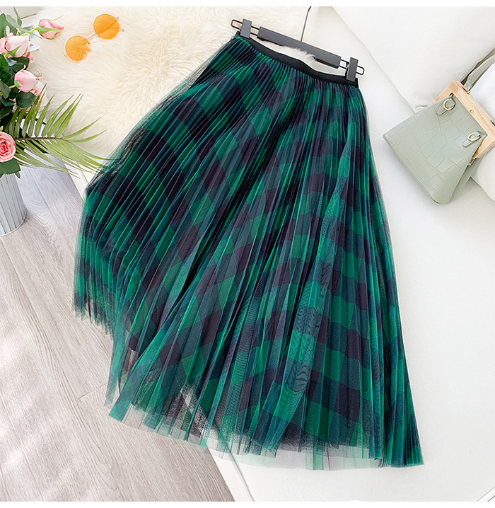 H476b0898afd2427c87adbe554364cd1el - TIGENA Green Red Long Plaid Tutu Tulle Skirt Women Fashion New Elegant A Line High Waist Pleated Maxi Skirt Female Ladies