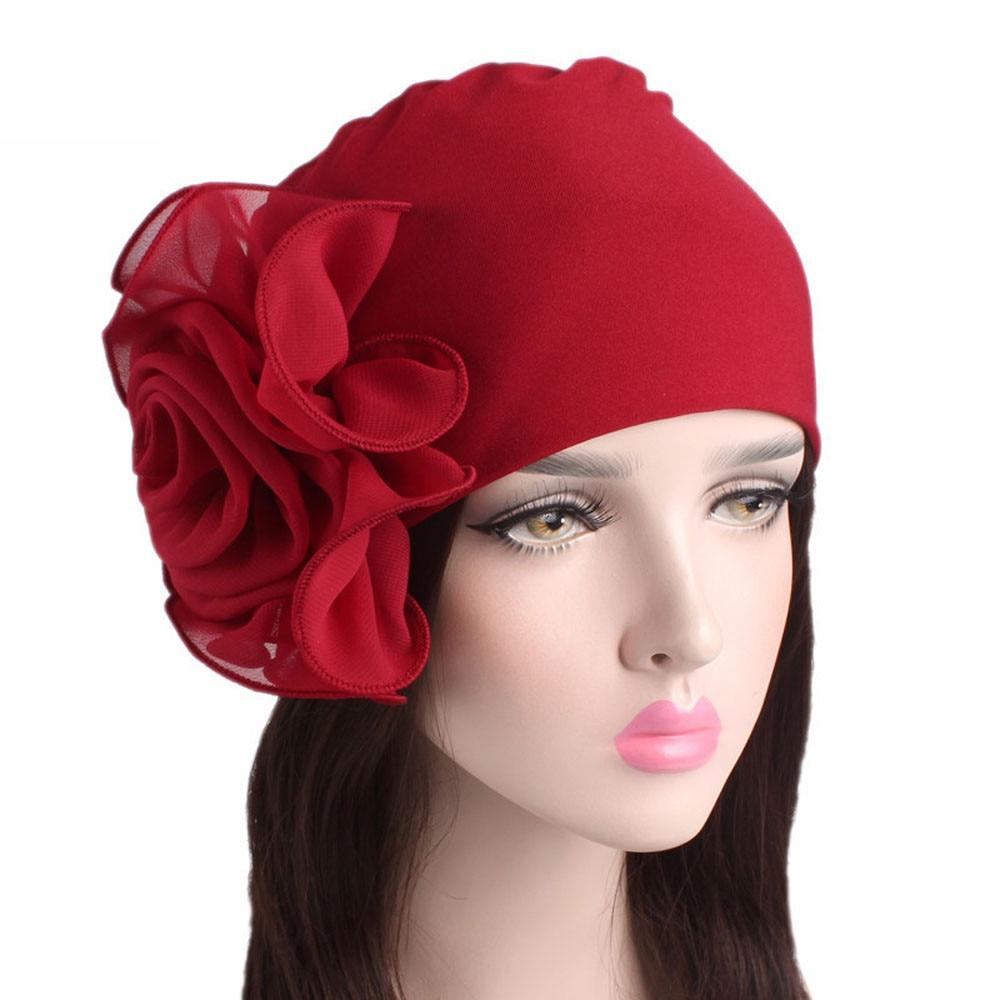 Women's Solid Color Muslim Headscarf Hat Flower Patchwork Stretch Ladies Retro Hat Turban Brim Hat Cap Pile Cap Beanie Scarf