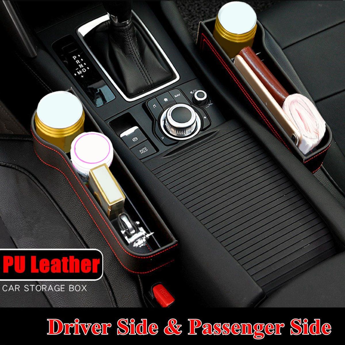 Left/Right Universal Pair Passenger Driver Side Car Seat Gap Storage Box for Pocket Organizer Phone Holders Black/Beige/Red 1