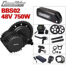 Bafang BBS02B 48 فولت دراجة كهربائية عدة 750 واط عدة ebike للتحويل 8fun دراجة كهربائية تحويل عدة محرك كرنك مركزي 48 فولت 20 20